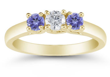 Three Stone Diamond and Tanzanite Ring, 14K Gold