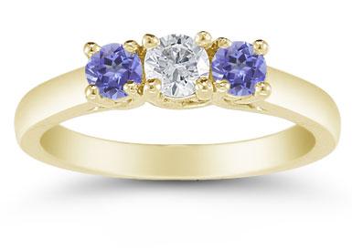 Three Stone Diamond and Tanzanite Ring, 14K Gold