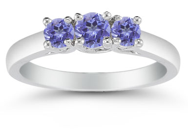 Three Stone Tanzanite Ring, 14K White Gold