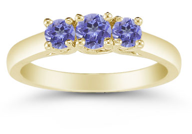 Three Stone Tanzanite Ring, 14K Gold