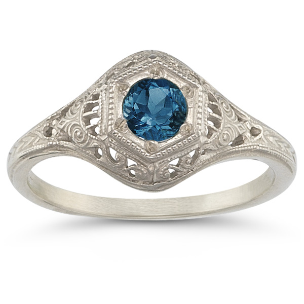 Victorian Etched London Blue Topaz Ring