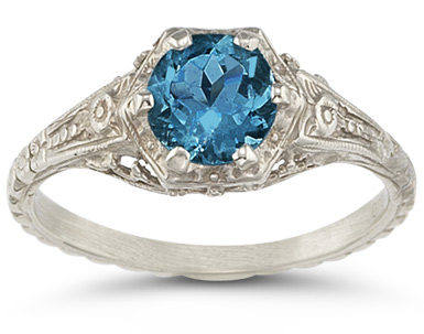 Buy London Blue Topaz Vintage Floral Ring