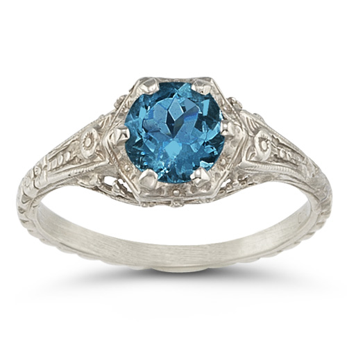 London Blue Topaz Vintage Floral Ring
