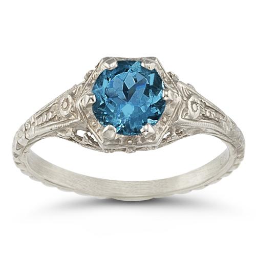London Blue Topaz Vintage Floral Ring