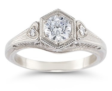 Vintage White Topaz and Heart Diamond Ring, 14K White Gold