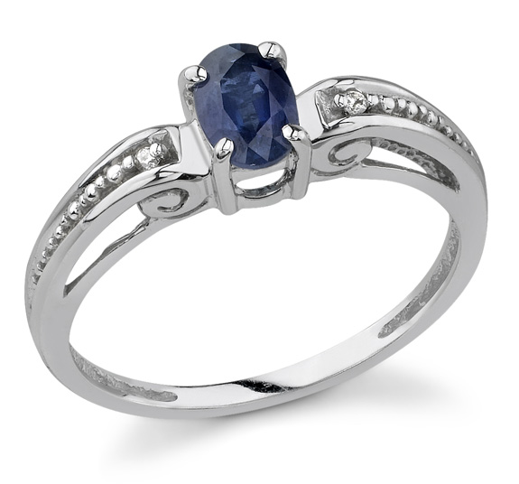 Sapphire and Diamond Art Deco Style Ring in White Gold