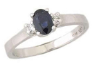 Sapphire Ring with Diamond Accents in 14K White Gold