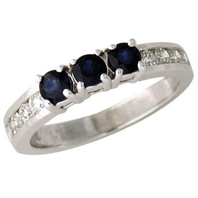 Three Stone Sapphire and Diamond Channel Set Ring