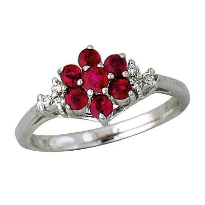 Diamond and Ruby Flower Ring in 14K White Gold