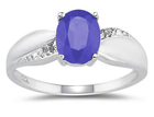 Tanzanite and Diamond Ring 10K White Gold
