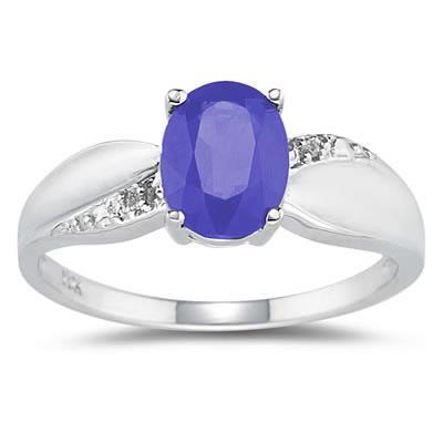 Tanzanite and Diamond Ring 10K White Gold
