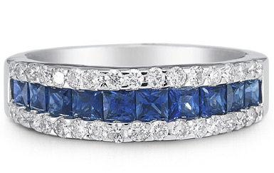 Princess Cut Sapphire and Diamond Ring, 14K White Gold