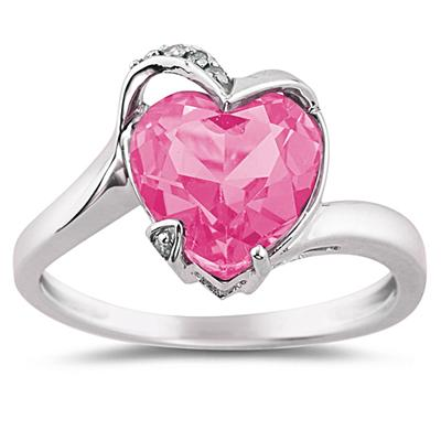 Vintage Christmas Gift Ideas for Women Heart Shaped Pink Topaz and Diamond Ring in 14K White Gold $425.00 AT vintagedancer.com
