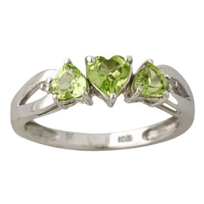 Heart Shape Peridot and Diamond Ring in 10K White Gold