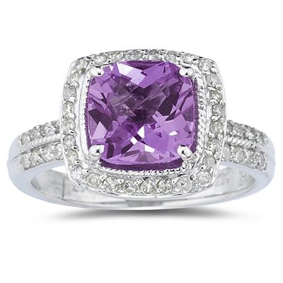2.50 Carat Cushion Cut Amethyst and Diamond Ring in 14K White Gold