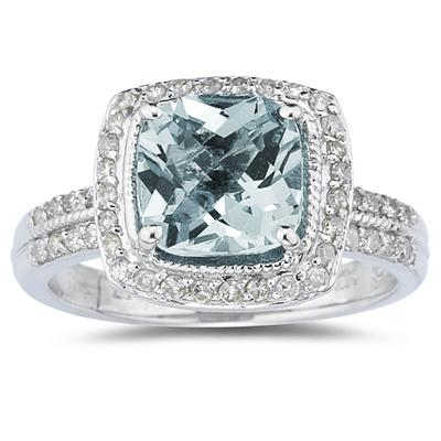 2.50 Carat Cushion Cut Aquamarine and Diamond Ring in 14K White Gold