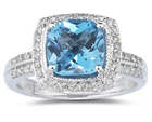 2.50 Carat Cushion Cut Blue Topaz and Diamond Ring in 14K White Gold