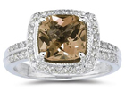 2.50 Carat Cushion Cut Smokey Quartz and Diamond Ring in 14K White Gold