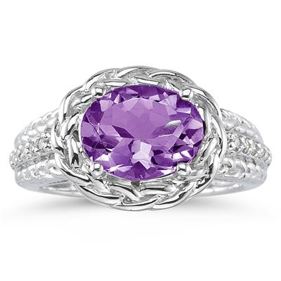 2.33 Carat Oval Shape Amethyst and Diamond Ring in 10K White Gold