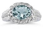 2.33 Carat Oval Shape Aquamarine and Diamond Ring in 10K White Gold