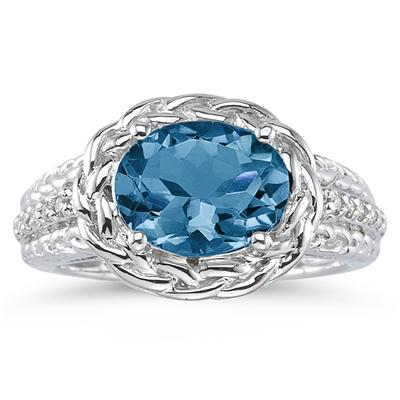 2.33 Carat Oval Shape Blue Topaz and Diamond Ring in 10K White Gold