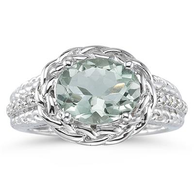 2.33 Carat Oval Shape Green Amethyst and Diamond Ring in 10K White Gold