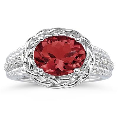 2.33 Carat Oval Shape Garnet and Diamond Ring in 10K White Gold