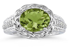 2.33 Carat Oval Shape Peridot and Diamond Ring in 10K White Gold