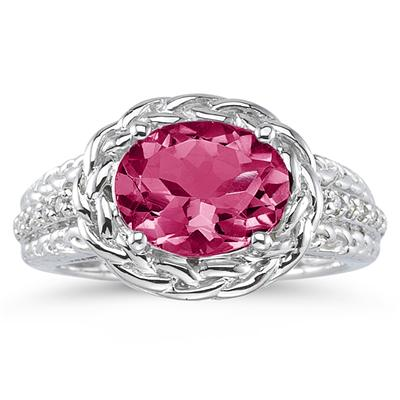2.33 Carat Oval Shape Pink Topaz and Diamond Ring in 10K White Gold