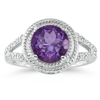 Amethyst and Diamond Rope Design Ring in 10K White Gold