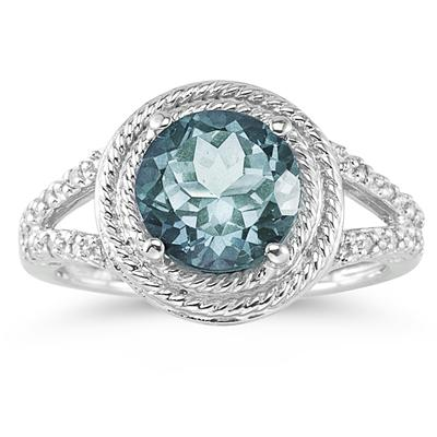 Aquamarine and Diamond Rope Design Ring in 10K White Gold