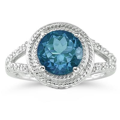 Blue Topaz and Diamond Rope Design Ring in 10K White Gold
