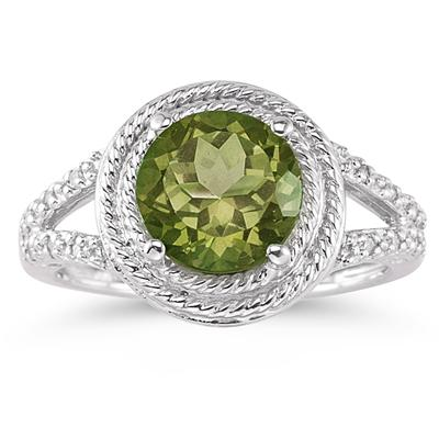 Peridot and Diamond Rope Design Ring in 10K White Gold
