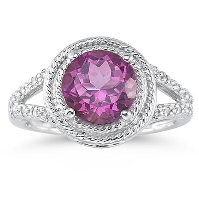 Pink Topaz and Diamond Rope Design Ring in 10K White Gold