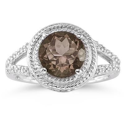 Smokey Quartz and Diamond Ring in 10K White Gold