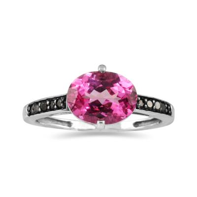 Pink Topaz and Black Diamond Ring in 10K White Gold