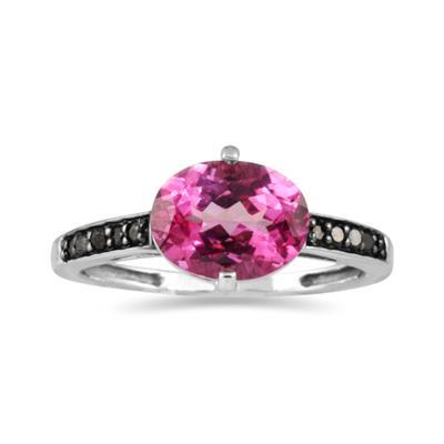 Pink Topaz and Black Diamond Ring in 10K White Gold