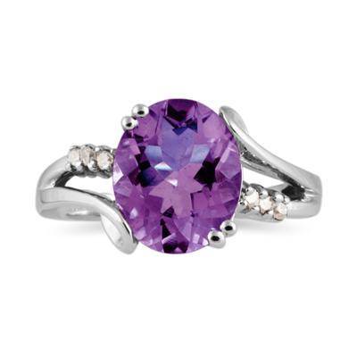 3.00 Carat Oval Cut Amethyst and Diamond Ring in 10K White Gold
