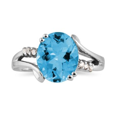 3.00 Carat Oval Cut Blue Topaz and Diamond Ring in 10K White Gold