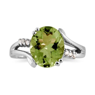 3.00 Carat Oval Cut Peridot and Diamond Ring in 10K White Gold