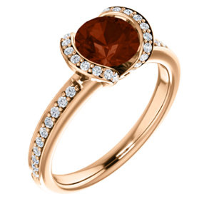 14K Rose Gold Mozambique Garnet Gemstone Ring