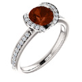 Mozambique Garnet and Diamond Ring in 14K White Gold