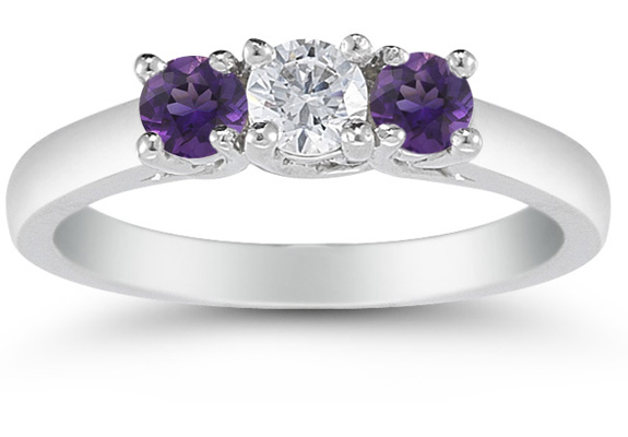 Three Stone Diamond and Amethyst Ring in 14K White Gold