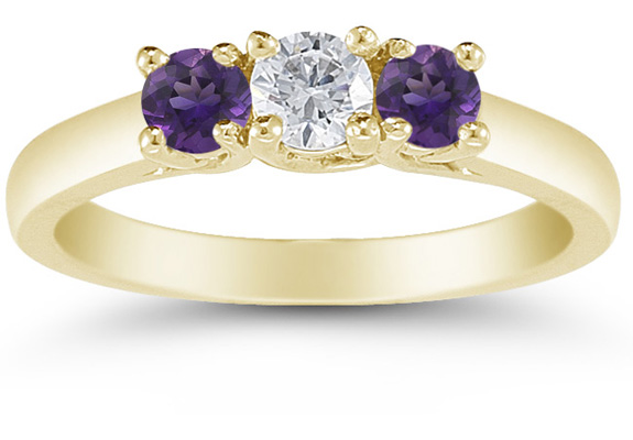 Three Stone Diamond and Amethyst Ring in 14K Yellow Gold