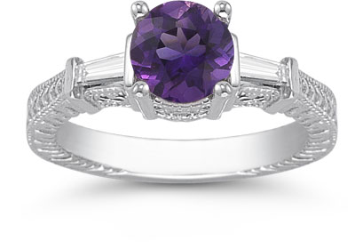 Round Amethyst and Baguette Diamond Engraved Engagement Ring, 14K White Gold