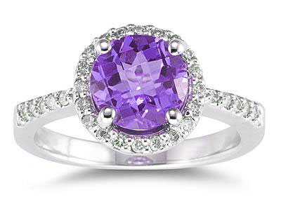 8mm Amethyst and Diamond Ring, 14K White Gold