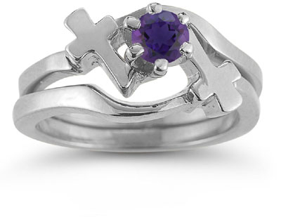 Amethyst Cross Wedding Ring Bridal Set, 14K White Gold