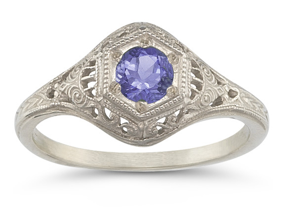 Antique-Style Tanzanite Paisley Ring in 14K White Gold