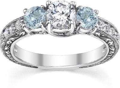 Antique-Style Aquamarine and Diamond Engagement Ring, 14K White Gold