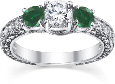 Antique-Style Emerald and Diamond Engagement Ring, 14K White Gold